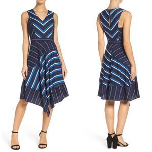Adelyn Rae Striped Fit and Flare Dress Sz. Medium